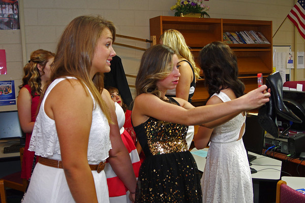 """Graduating Seniors Ruth Anne Shellabarger and Rosie Weber pose for a """"selfie"""" prior to Dalevill High School Commencement."""