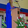 "Valedictorian Cdcily Swinford addresses her classmates on "" Our Common Destination"" during commencement."