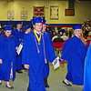 Graduates march out of the gymnasium during the recessional.