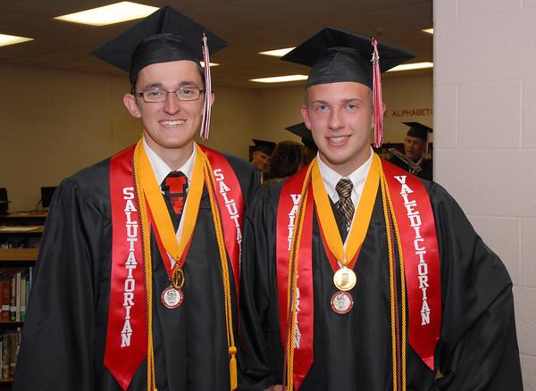 Frankton High School salutatorian Ryan Dean Willmann and valedictorian Jacob Arthur Pruitt pose for a photo prior to the 2012 commencement.