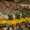 Graduating Seniors gather in the Pendleton Heights High School gymnasium to receive their diplomas on Sunday.