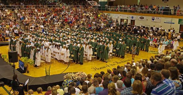 Graduating Seniors gather in the Pendleton Heights High School gymnasium to receive their diplomas on Sunday.
