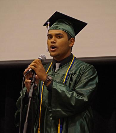 Kasten Jordan sings for those gathered at Pendleton Heights High School for graduation ceremonies on Sunday.