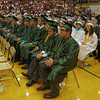 Members of the Pendleton Heights High School graduating class await their diplomas during commencment ceremonies.