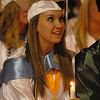 2012 Senior Class President Brittney Ketring during the candle light ceremony.