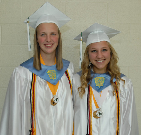 Valedictorian Abigail Haffner and salutatorian Katie Russell pose for a picture prior to commencement.
