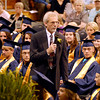 Shenandoah High School Principal Charles Willis addresses the 2013 graduating class for the last time during their commencement Sunday.