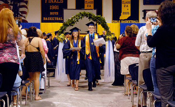 The class of 2013 of Shenandoah High School recesses at the end of the commencement after being declared graduates.