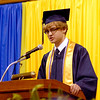Shenandoah High School class of 2013 Valedictorian Zachary Poor addresses his classmates during their commencement Sunday.