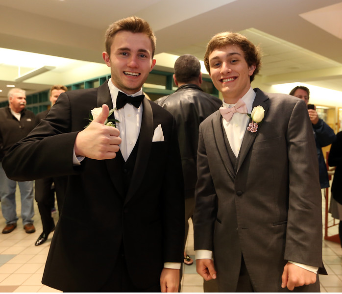 Groton-Dunstable pre-prom gathering at the high school. Jeffery Silver, left, and Will Zimmon, both of Groton. (SUN/Julia Malakie)