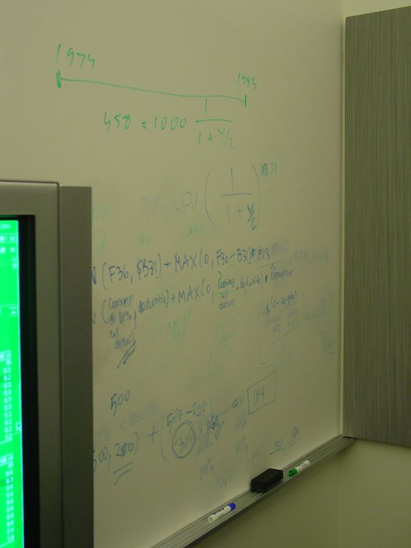 We write some jibberish on the white boards to look cool.
