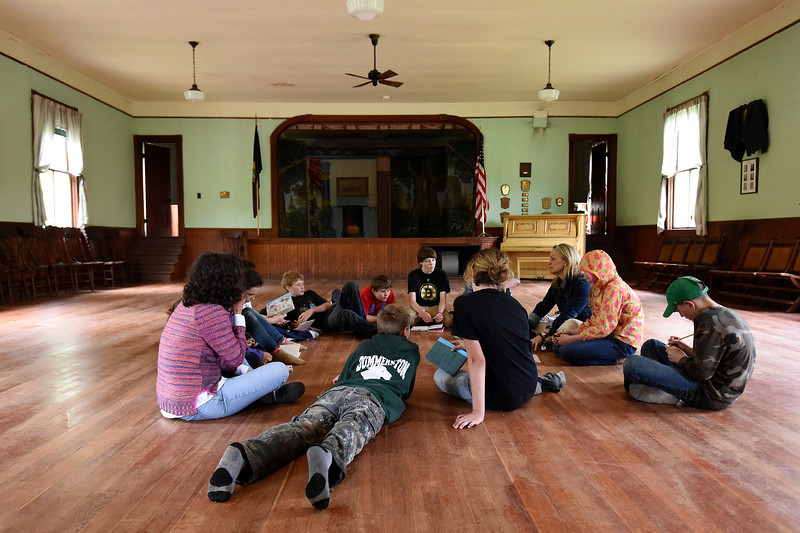 Kayla Rice/Reformer<br /> The sixth grade class at Guilford elementary school gathers before lunch at Broad Brook Grange on Wednesday afternoon.