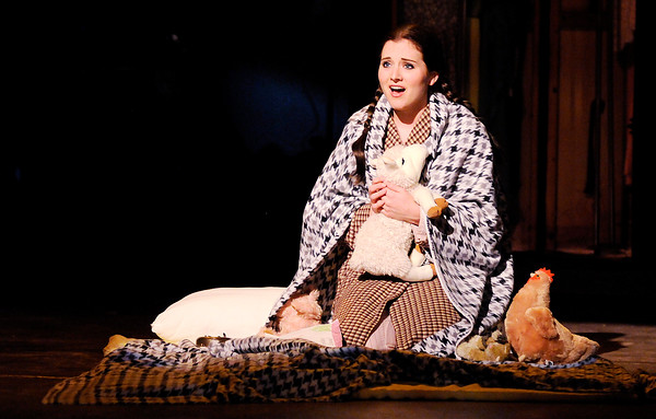"Don Knight | The Herald Bulletin<br /> Louise (Anna Harkrider) wonders how old she is as she sings to her lamb on her birthday in Anderson University's production of ""Gypsy."""