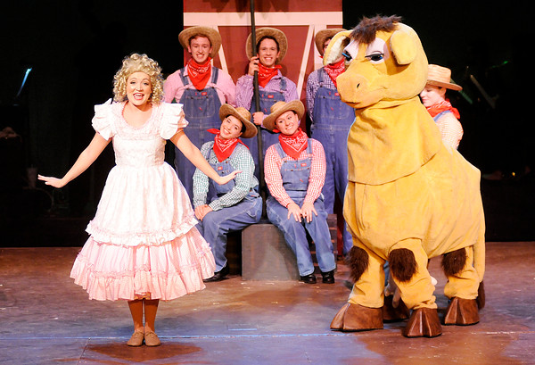 """Don Knight   The Herald Bulletin<br /> June (Julianne Boyd) performs with her Farmboys in Anderson University's production of """"Gypsy."""""""