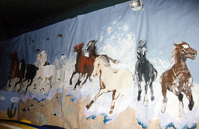 The Mustang mascot mural was the biggest decoration.