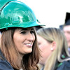 Construction Technologies graduate Kelly Doherty of East Greenbush wears a green construction helmet at Hudson Valley Community College commencement at the Joseph L. Bruno baseball field in Troy, Saturday  May 17,  2014 (Mike McMahon - The Record)