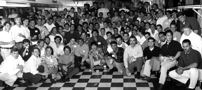 "Jesuit High School Class of '89 5-Year Reunion<br /> June, 1994 - Acme Oyster House, New Orleans, LA<br /> <br /> Only the single ""official"" group picture.  I'm somewhere in the middle/back."