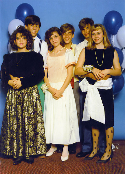 """JHS Homecoming Dance (sophomore year)<br /> Marriott Hotel, New Orleans, LA - 10-10-1986<br /> Gerald (not pictured) gathered us up from all edges of the city. He also gave me my first 80-plus MPH negotiation of """"The Fucker"""" (two tight-radius turns on I-10 right before the High-Rise).<br /> We tried to by booze everywhere but ended up empty-handed. We """"dined"""" at T.G.I.F.'s.<br /> Keep an eye on the swapping that will on over the years. Evie (with Keith) ended up being my long-term highschool girlfriend; Keith got married to a girl that I could never quite hook up with; Aimee (with Greg) was a girl I chased my entire grammar school carreer; Suzette (with me) always wanted Greg even though we dated for a few months."""