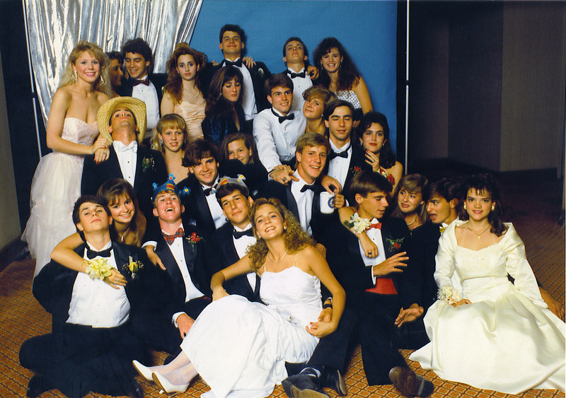 Jesuit High School Senior Prom - May, 1989 <br /> Bayou Plaza Hotel, New Orleans, LA<br /> <br /> Here it is - the big finale. Senior prom. I, again, am dressed like a buffoon. I wore my good ol' K-Swiss Classics and a gold foil tie and cumberbun. All kinds of things are going on in this picture... none of which is preparing for the picture to be taken.