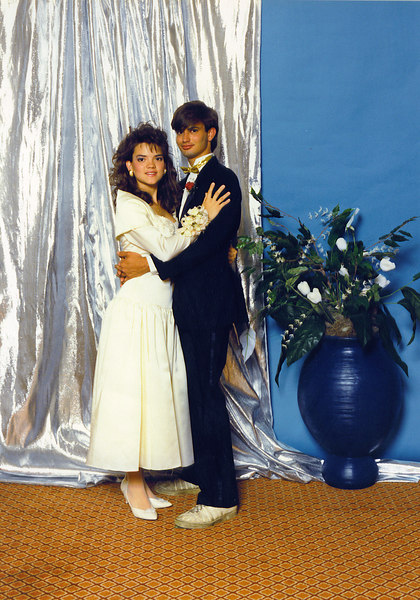 Ricky and the beautiful Miss Evie at my senior prom. Make note of the gold lame bow tie and K-Swiss tennie-boots.