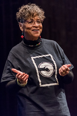 Peggy Trotter Dammon Preacely invites students to sing along to a Freedom Riders song to begin her presentation. Fran Ruchalski | Pharos-Tribune