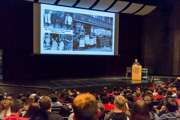 """Peggy Trotter Dammon Preacely, the keynote speaker at the Ivy Tech annual """"Doing the Dream"""" event on Jan. 31 at Logansport High School. shares with students photos from her time as a Freedom Rider and civil rights activist during the 60s. Fran Ruchalski 