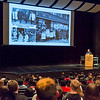 "Peggy Trotter Dammon Preacely, the keynote speaker at the Ivy Tech annual ""Doing the Dream"" event on Jan. 31 at Logansport High School. shares with students photos from her time as a Freedom Rider and civil rights activist during the 60s. Fran Ruchalski 