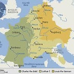 The division of Karl der Grosse's empire into three parts: Charles the Bald (west), Lothar I (central), and Louis the German (East).