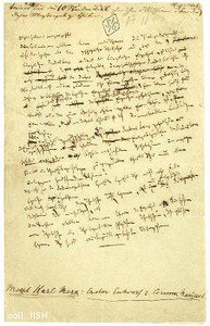 Manuscript of Karl Marx, could be from the Communist Manifesto or Das Kapital.