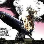 """Using the Hindenburg air disaster to indicate the problems in the EU. """"ignoring that, you'll notice the rest of it is in pretty good shape..."""""""