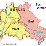 Map showing the division of Berlin following WWII. East Berlin became the capital of the German Democratic Republic (communist East Germany). West Berlin was under the control of West Germany and only re-gained its status as capital after re-unification in 1990.