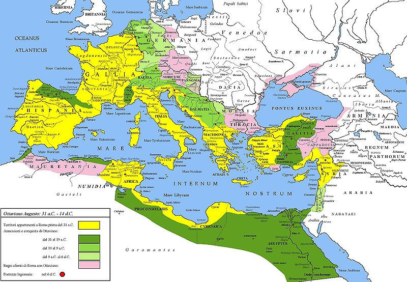 Map of the Roman Empire under Augustus 45-30 BC, showing areas of Germanic tribes.