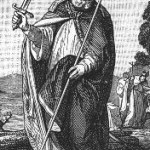 St. Boniface, patron saint of the Germans. He was stabbed to death by robbers, and the sword or dagger went through his book.