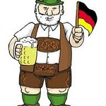 Cartoon drawing of typical Bavarian in his trademark Lederhose, drinking his favorite beverage--Bier. The Germans don't call it a stein. It is properly a Masskrug (liter mug). People wearing lederhose are in a distinct minority, even in Bavaria. A spoof on southerners in Germany and Austria is the song  Anton aus Tirol.