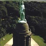 Built in the mid 1800s, this monument honors Hermann (Arminius), who led the Churusci Germanic tribe in a victory over three legions of Roman soldiers at the battle of Teutoburg Forest in 9 AD.