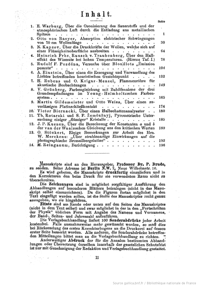 Table of Contents of Die Annalen der Physik from 1905, in which Albert Einstein first published his revolutionary ideas about relativity and light. (Number 6)