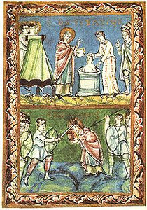 Shows two scenes from life and death of St. Boniface, Patron Saint of the Germans. In top frame he is baptizing at Fulda. The bottom frame shows his martyrdom in Frisia.