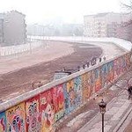 Another view of the Berlin Wall. The graffiti indicated the side that faced into West Berlin. No man's Land  is on the left side.