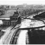 Aerial view of the Berlin Wall as it snaked around the Brandenburg Gate with East Berlin on the left an West Berlin on the right.  Photo probably taken from the Reichstaggebaeude (Parliament).