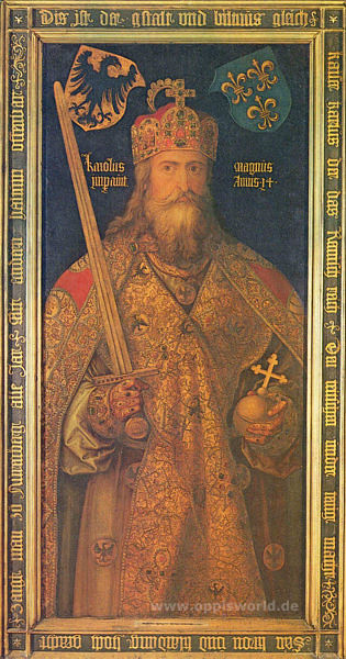 Holy Roman Emperor Karl der Grosse who was crowned in Rome in 800.