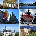 Postcard like images of Germany---Brandenburg Gate, Alpine lake, cathedrals, castles, cows and dairy products, folk dancing.