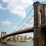 Spectacular Brooklyn Bridge, designed and build with the leadership of the Roeblings from Germany.