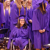 Yaremi Jones watches fellow graduates during Wednesday's Holy Family High School graduation ceremony.<br /> May 18, 2011<br /> staff photo/David R. Jennings