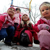 """Emerson Youngren, left, Stella Delaney, Gwen Stillman, and Neva Upton, all 3 years, play outside the Homestar Child Development Preschool in Boulder on Thursday. For more photos of the kids, go to  <a href=""""http://www.dailycamera.com"""">http://www.dailycamera.com</a><br /> Cliff Grassmick / January 14, 2010"""