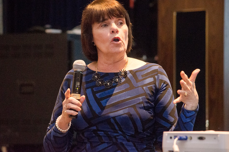 "Middlesex District Attorney Marian Ryan speaks during a showing of the short film ""If Only"" at North Middlesex Regional High School on Tuesday evening. ""If Only"" is a short film intended for teens, parents and adults to raise awareness about the dangers of prescription drug misuse and abuse and to start a conversation that encourages the safe use, storage and disposal of prescription drugs to keep them out of the hands of kids. SENTINEL & ENTERPRISE / Ashley Green"