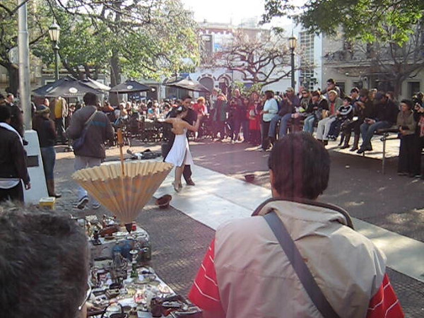 VID--Dancers perform on square at San Telmo fair.