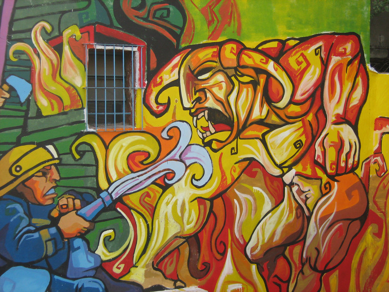 Part of mural, the scary part, El Hombre ante El Fuego. Looks like El Toro, non?