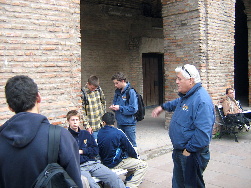 Resting a moment in courtyard of ancient church founded by Jesuits. Mr. Z gave walking tour of BA.