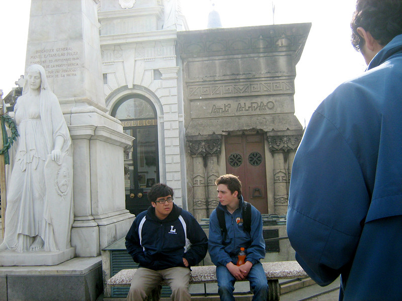 Cooper and Robert in Recoleta cemetery.
