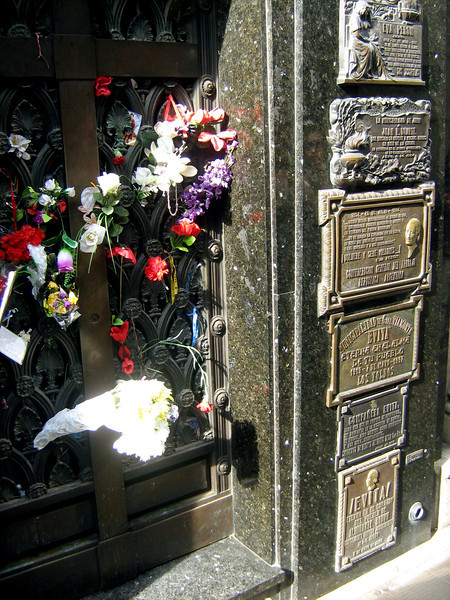 Evita's final resting place. The plaque is from her native village.